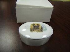 Afghan Hound Dog oval ceramic trinkett box