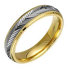 Half Round 14k Yellow White Gold Wedding Rings 5mm Comfort Fit Mens 2TC5-616G-V