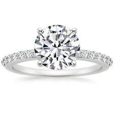0.75CT Round Forever One Moissanite Diamond Engagement ring 14K White Gold