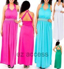 Womens Plus Size Dress Criss Cross Padded Bust LonG MaXi Summer Sun Dress 1X-3X