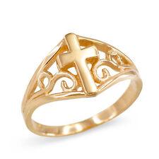 Solid 10k Yellow Gold Filigree Motif Cross Ring