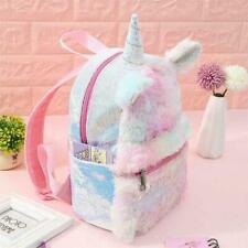 Kids Girls School Book Bag Plush Cartoon Unicorn Backpack Sequins Shoulder Bag b