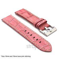 StrapsCo Croc Embossed Flat Leather Watch Band Men Womens Crocodile Strap Pink