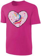 Mädchen T-Shirt Wende Pailletten Einhorn Herz Streichel Shirt Pink