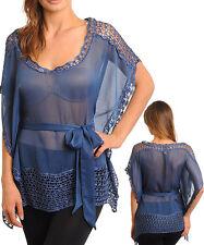 Women Party Batwing Buterfly Tunic Top w/Crochet Size 8 / 10 NEW
