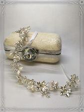 Blüten Diadem Haarschmuck Brautschmuck Haarkette Haarband Haardraht Silber