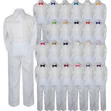 3pc Shirt White Pants Bow Tie Set Baby Toddler Kids Boys Wedding Formal Suit S-7