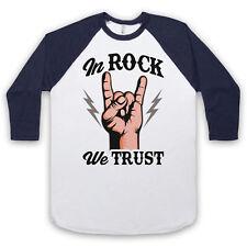 IN ROCK WE TRUST MUSIC SLOGAN LOVE OF ROCK UNISEX 3/4 BASEBALL TEE