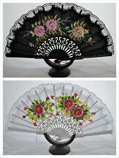 Spanish flamenco wood& Lace hand painted fans eventails fächers ventagli abanico