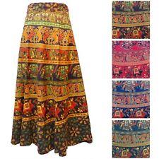 ELEPHANT & CAMEL Print Hippy Boho Cotton LONG Wrap Skirt - Size UK 8 to 20