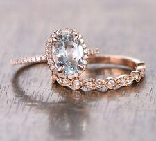 6x8mm Oval Aquamarine Diamond Halo Engagement Ring Set 14K Rose Gold Art Deco