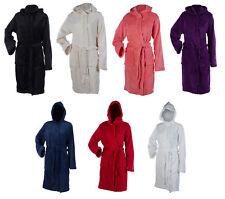 Womens Hooded Wrap Around Dressing Gown Soft Coral Fleece Plain Bathrobe Medium