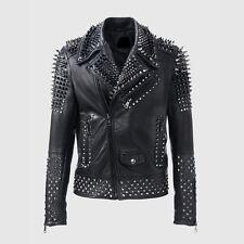 Mens Fashion Leather Jacket Silver Studded Real Soft Motorbike Leather Jackets