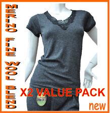2xNew Ladies Short Sleeve Merino Fine Wool Blend Thermal Underwear  Black  Beige