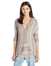 Billabong SEASIDE RYDER Multi Striped Baja Knit Pullover Hooded Junior's Sweater