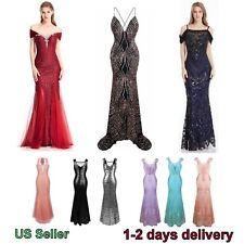 Spaghetti Strap | Mermaid  PROM Ball Gown Tassels Sequin Long Dress| 2 day ship