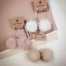 Cute Rabbit Fur Ball PomPom Long Drop Earrings Otter feather crystal Ear for Wom