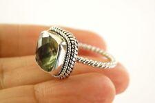5 ct. wt Cushion Cut Green Amethyst Prasiolite Sterling Silver Ring Size 6 7 8 9
