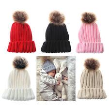 Baby Toddler Kids Warm Faux Fur Pom Pom Crochet Knit Beanie Hat