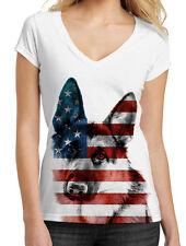 Junior's American German Shepherd White V-Neck T-Shirt American July 4 Dog B757