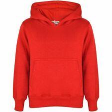 Kids Girls Boys Sweatshirt Tops Plain Red Hooded Jumpers Hoodies Age 2-13 Years