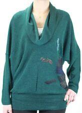 CUSTO BARCELONA Women's New Rain Green Cowl Neck Sweater 2390777 $178 NWT
