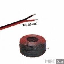 (0,49€/m)5-100m LED Kabel Zwillingslitze 2x 0,35mm² schwarz/rot 2-adrig