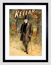 KELLAR THE MAGICIAN VINTAGE ADVERT BLACK FRAMED ART PRINT PICTURE B12X2516