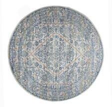 Transitional Round Rug Silver Geometric Pattern Design Modern Carpet Shaggy Mat