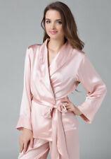 Pure Silk Womens Pajama Set w/ Belt Pyjamas Top and Bottom Set 1019 Solid Size 2