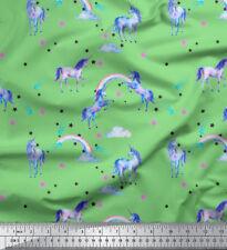 Soimoi Fabric Unicorn & Rainbow Nature Print Fabric by the Meter-NT-505A