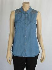 Sportsgirl Ladies Sleeveless Chambray Denim Shirt size 6 8 10 Colour Chambray