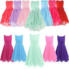 Girls Sleeveless Pleated Dresses Flower Party Wedding Pageant Kids Formal Dress