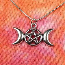 "Triple Goddess Pentagram Moon Necklace, 16 18 20 22 24 26 28 30 36"" inch, Wiccan"