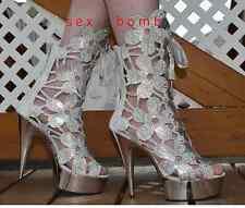 SEXY sandalias/botines piel plata Tacón Plataforma 15 STRASS DE 36 A 44 GLAMOUR