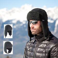 Mens Womens Warm Faux Wool Thinsulate Fleece Lined Hat with Peak & Ear Flaps