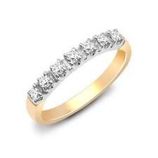 Jewelco London 9ct Gold Diamante 7 Medio Anillo Eternidad Piedra