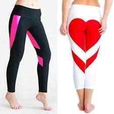 Women Heart Shape Yoga Leggings Fitness Pants Running Gym Sports Trousers W