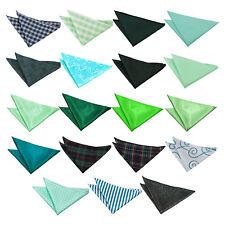 DQT Green Handkerchief Hanky Plain Plaid Pattern Floral Paisley Polka Dot Stripe