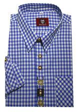 Orbis Trachtenhemd blau-weiß mit Stickerei Krempelarm OS-0102 Regular Fit