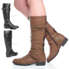 Mujeres tacón bajo elástico biker cremallera botas medios de caña hípicas talla