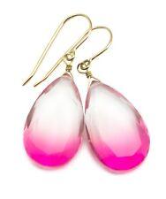 Watermelon Tourmaline Earrings Bicolor Clear Pink Teardrops Sterling 14k Gold