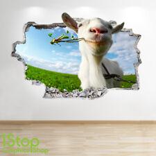 chèvre Autocollant Mural 3D LOOK - chambre salon nature Yard ferme Z633