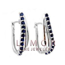 1CT Women's Stunning Blue Sapphire 925 Silver Hoop Earrings 25x12mm