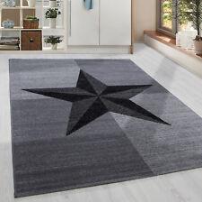 Moderner Kurzflor Teppich Stern gesäumt Jugendzimmer Grau Schwarz Meliert