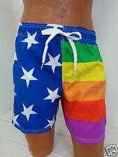 Men's  Rainbow Flag Colors Swimtrunk Swimsuit USA stars stripes New
