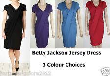Ladies Ex BETTY JACKSON Dress Jersey Shift Drape Front Red Purple Blue Size 8-14