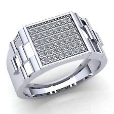 Genuine 1ctw Round Diamond Mens Cluster Anniversary Ring 18K Gold