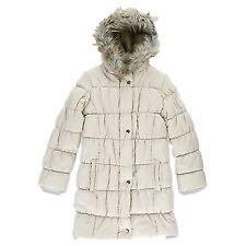 Ancienne fille adolescente uniforme légèrement rembourré couette manteau bordée de fausse fourrure à capuche