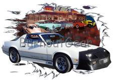 1987 White Chevy Camaro  IROC Z Custom Hot Rod Diner T-Shirt 87 Muscle Car Tees